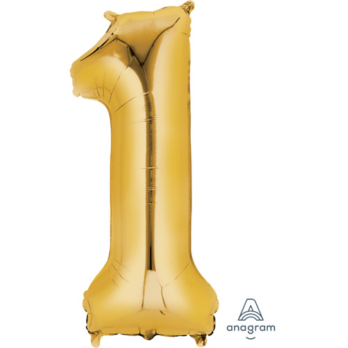 Anagram SuperShape Folienballon Gold Zahl 1
