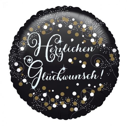 """Anagram Folienballon """"Herzlichen Glückwunsch!"""" schwarz / gold / weiss"""