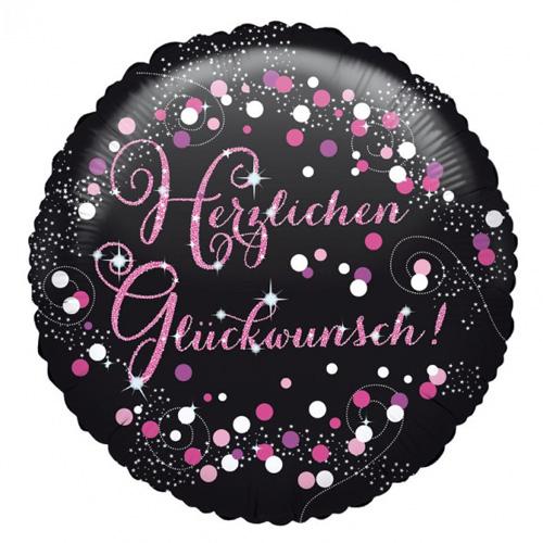"""Anagram Folienballon """"Herzlichen Glückwunsch!"""" schwarz / pink / weiss"""