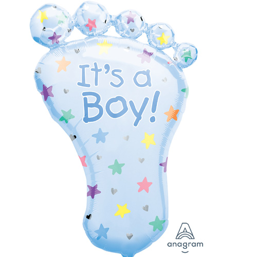 "Anagram Folienballon ""It's a Boy! – blauer Fuss"""