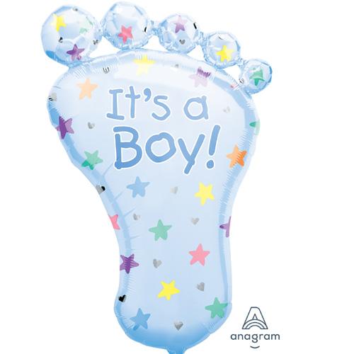 "Anagram Folienballon ""It's a Boy! – blauer Fuss"""