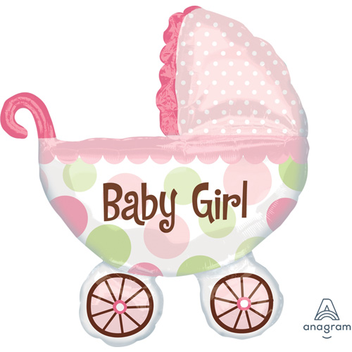 "Anagram Folienballon ""Baby Girl – Rosa Kinderwagen"""