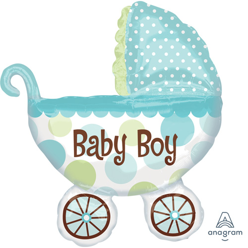 "Anagram Folienballon ""Baby Boy – Blauer Kinderwagen"""