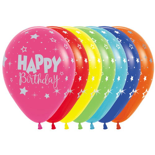 Sempertex Latexballons Happy Birthday - Metallic Ink-Silber-Mix 12 inch / 30 cm