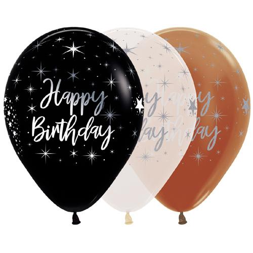 Sempertex Latexballons Happy Birthday - Metallic Ink - Mix 12 inch / 30 cm