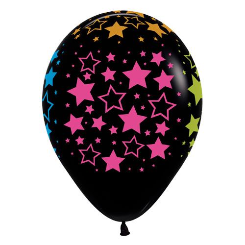 Sempertex Latexballons Bunte Neon Sterne – Black / Schwarz 12 inch / 30 cm