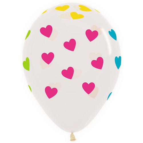 Sempertex Latexballons Bunte Neon Herzen – Transparent 12 inch / 30 cm