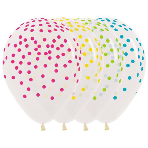 Sempertex Latexballons Transparent mit buntem Konfetti-Aufdruck 12 inch / 30 cm