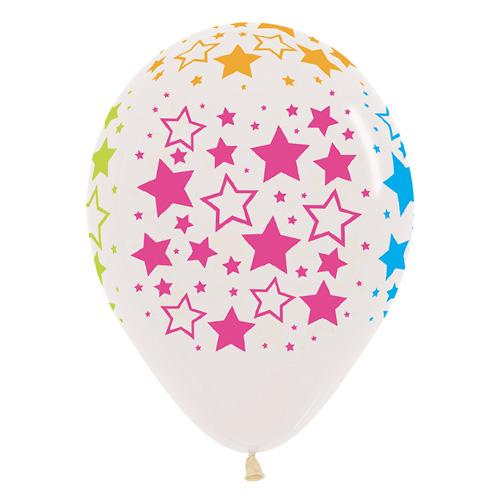 Sempertex Latexballons Bunte Neon Sterne – Transparent 12 inch / 30 cm