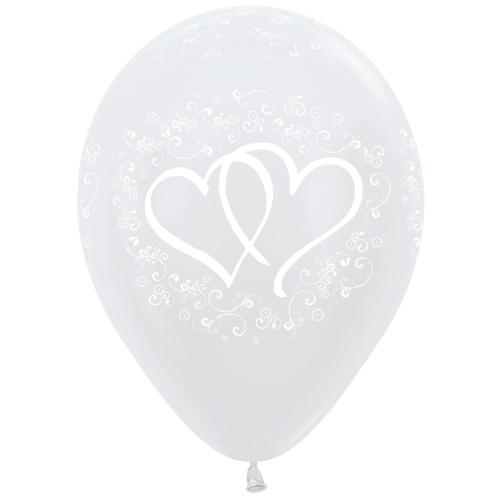 Sempertex Latexballons Verschlungene Herzen – Weiss 12 inch / 30 cm