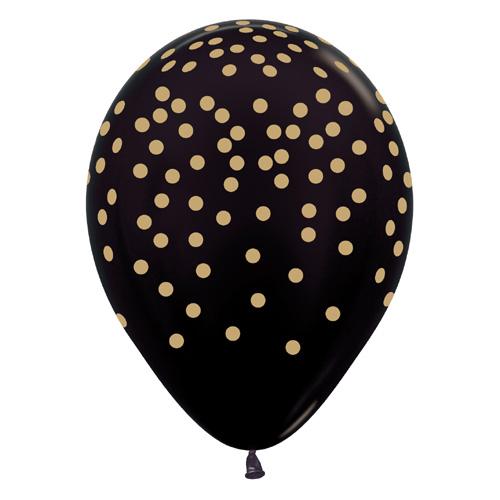 Sempertex Latexballons Schwarz mit goldenem Konfetti-Aufdruck 12 inch / 30 cm