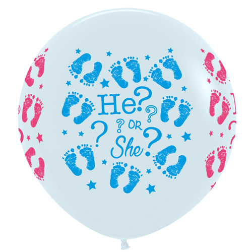 Sempertex Latexballons Gender Reveal / He or She? – White / Weiss 36 inch / 90 cm