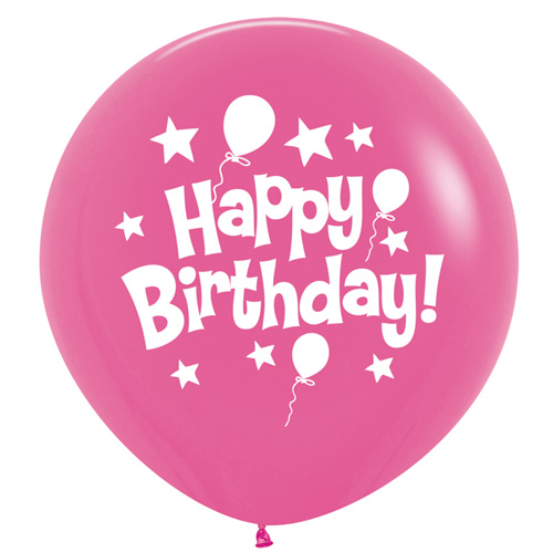 Sempertex Latexballons Happy Birthday / Fashion Solid Fuchsia Pink 36 inch / 90 cm