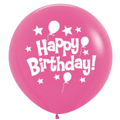 Sempertex Latexballons Happy Birthday / Fashion Solid Fuchsia Pink 36 inch / 90 cm
