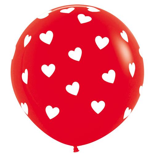 Sempertex Latexballons Rot mit weissen Herzen 36 inch / 90 cm