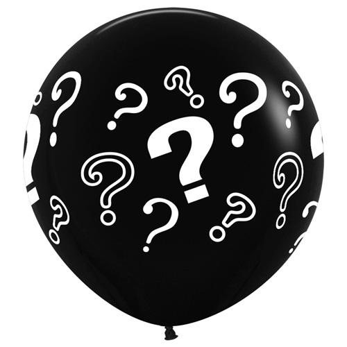 Sempertex Latexballons Gender Reveal / Grosse Fragezeichen – Black / Schwarz 36 inch / 90 cm