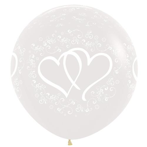 Sempertex Latexballons Verschlungene Herzen – Transparent 36 inch / 90 cm