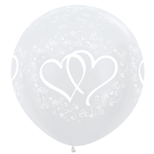 Sempertex Latexballons Verschlungene Herzen – Weiss 36 inch / 90 cm