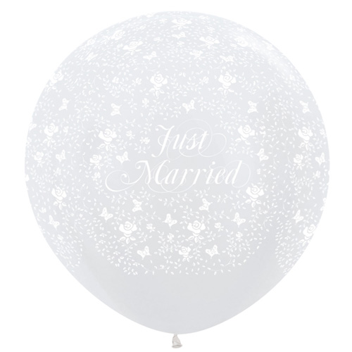 Sempertex Latexballons Just Married & Schmetterlinge 36 Inch / 90 cm