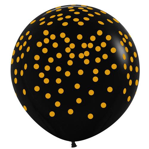 Sempertex Latexballons Schwarz mit goldenem Konfetti-Aufdruck 36 inch / 90 cm