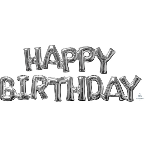 Anagram Folienballon Schriftzug Happy Birthday Silber