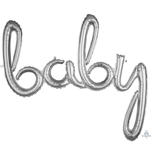 Anagram Folienballon Schriftzug baby silber