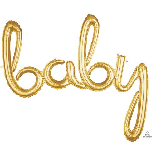 Anagram Folienballon Schriftzug baby Gold