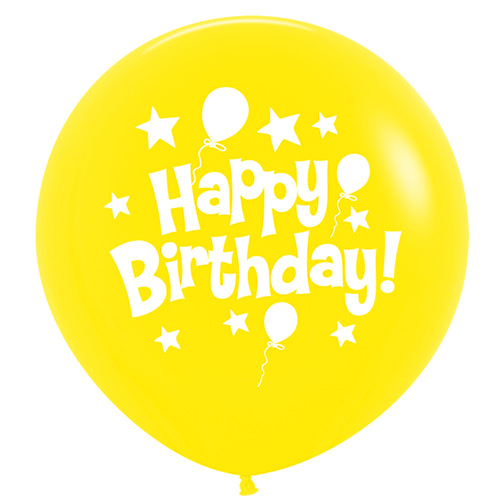 Sempertex Latexballons Happy Birthday Yellow / Gelb 36 inch / 90 cm